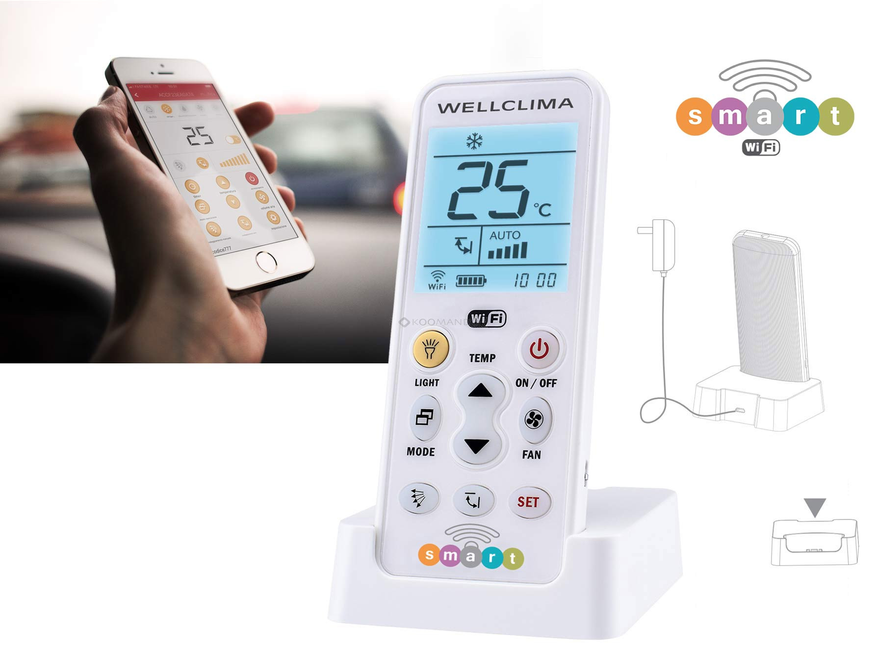Telecomando universale condizionatore Wellclima Smart Wi-Fi gestibile da smartphone.